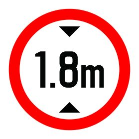 1.8m height limit sign