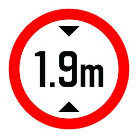 1.9m height limit sign