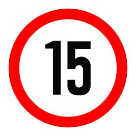 15km per hour speed limit sign