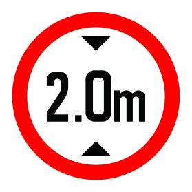 2.0m height limit sign