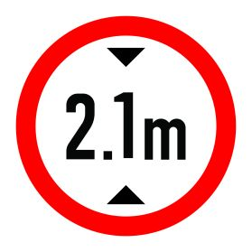 2.1m height limit sign