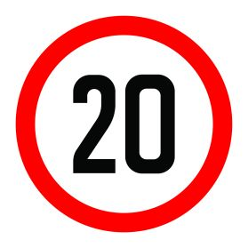 20km per hour speed limit sign