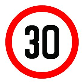 30km per hour speed limit sign