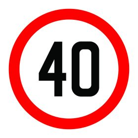 40km per hour speed limit sign