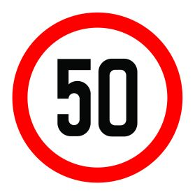 50km per hour speed limit sign