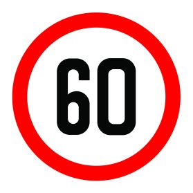 60km per hour speed limit sign
