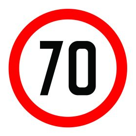 70km per hour speed limit sign