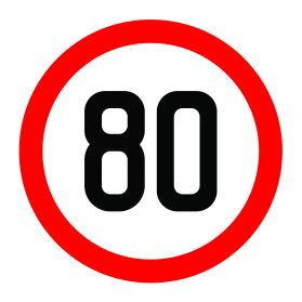 80km per hour speed limit sign
