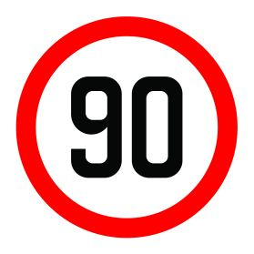 90km per hour speed limit sign