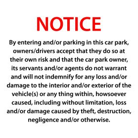Car park disclaimer sign v1