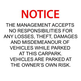 Car park disclaimer sign v2