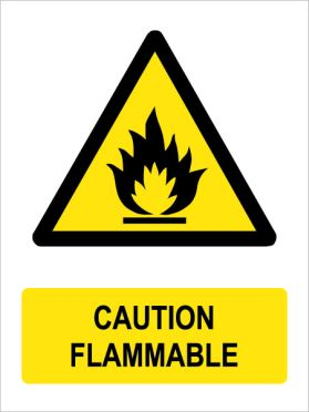 Caution flammable sign