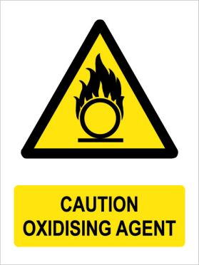 Caution oxidising agent sign