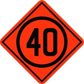 Construction 40km speed limit sign