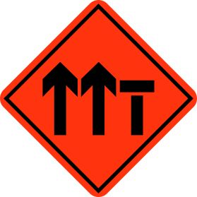 Construction right lane closed sign