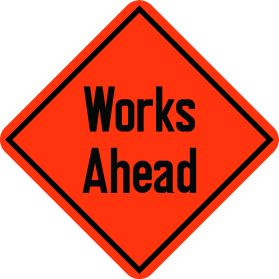 Construction works ahead sign