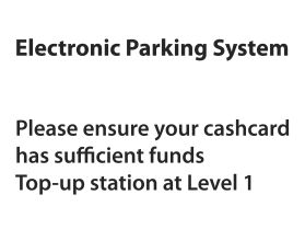 Eps parking to up cash card at level 1 sign