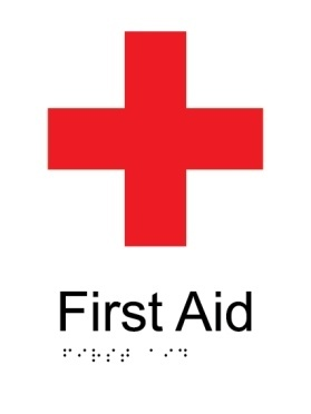 First aid kit aluminium acrylic braille sign