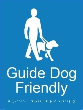 Guid dog friendly area acrylic blue braille sign