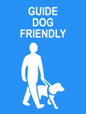 Guide dog friendly area sign