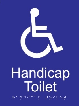 Handicap toilet acrylic blue braille sign