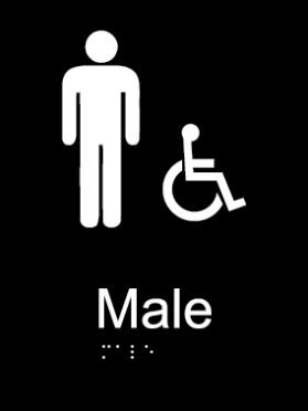Male toilet acrylic black braille sign
