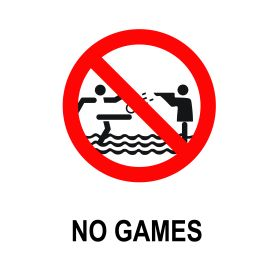 No games allowed in swimming pool sign