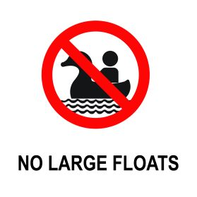 No large floats allowed in swimming pool sign