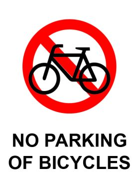 No parking of bicycles sign