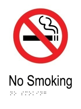 No smoking area aluminium acrylic braille sign v2
