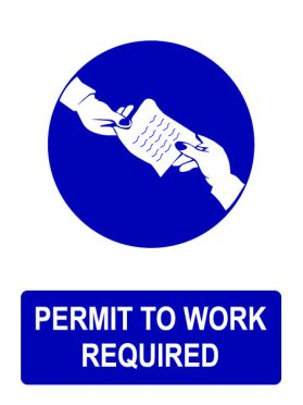 Permit to work required sign