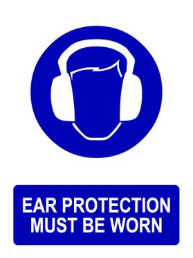 Ppe ear protection must be worn sign