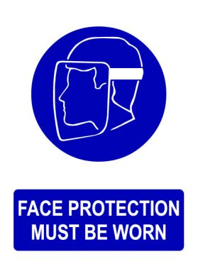 Ppe face protection must be worn sign