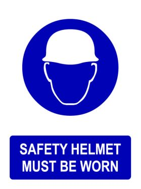 Ppe safety helmet must be worn sign