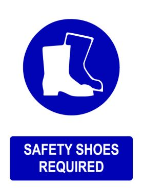 Ppe safety shoes required sign