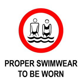 Proper swimwear to be worn sign