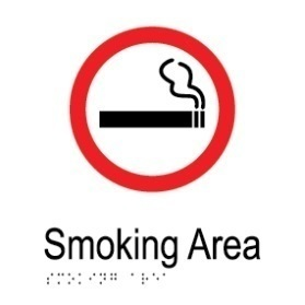 Smoking area aluminium acrylic braille sign v1