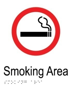 Smoking area aluminium acrylic braille sign v2