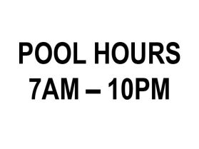 Swimming pool open hours sign