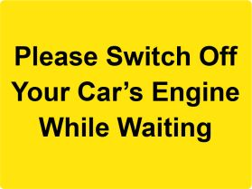 Turn off engine while waiting sign
