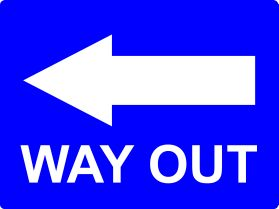 Way out to the left sign