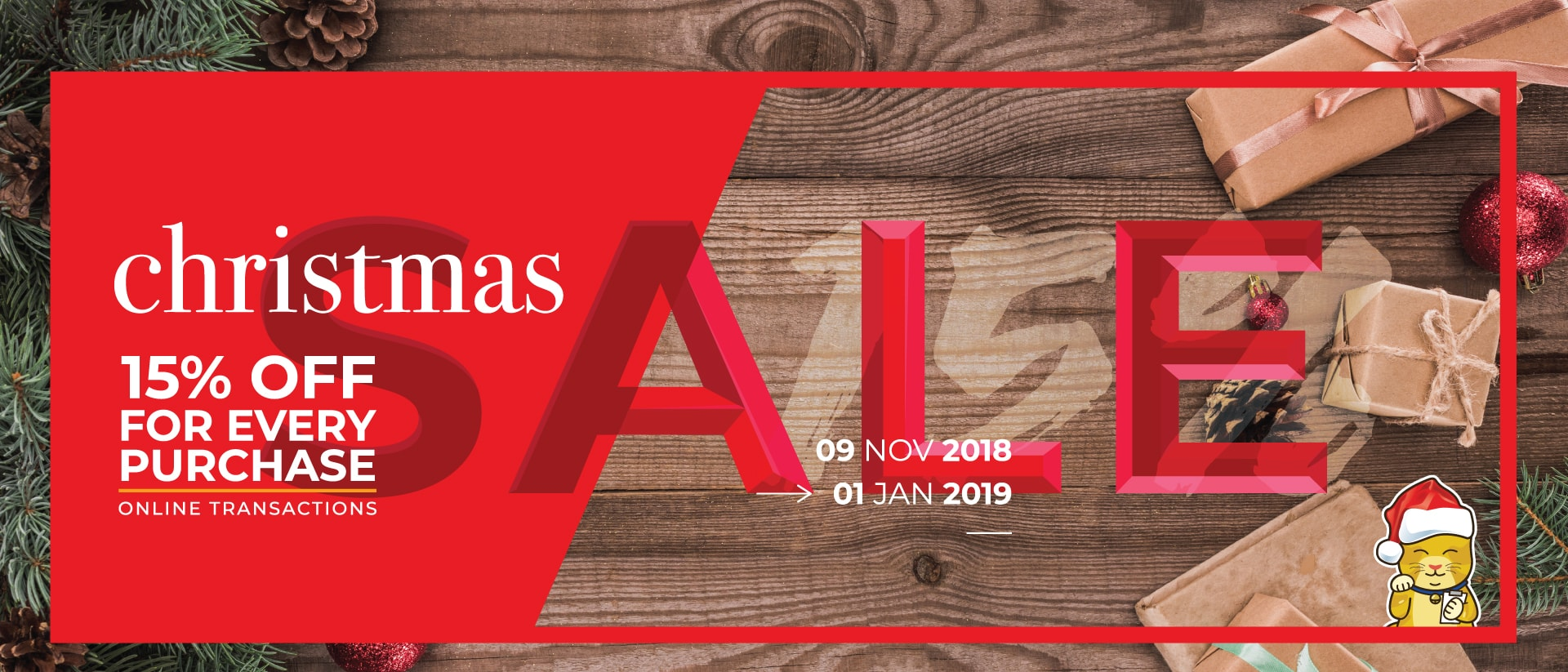 Christmas comes early with our 15% off till 1 Jan 2019
