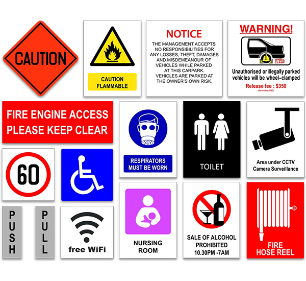 Generic message, traffic, safety and warning signs catalog