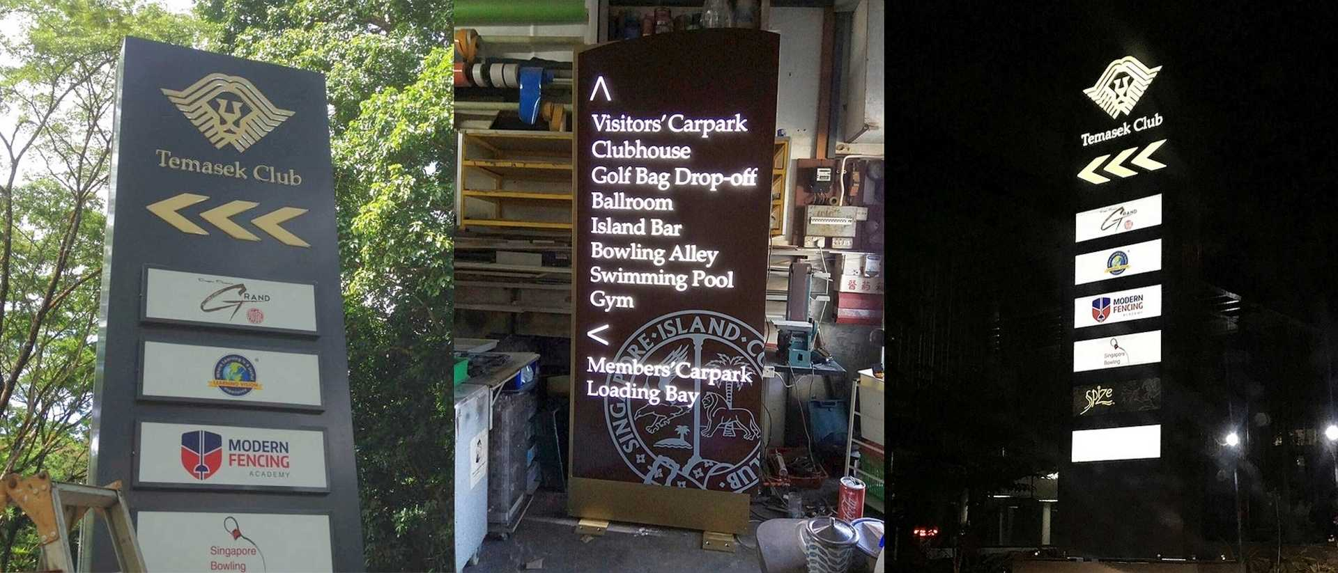 LED-lit main entrance pylon signs