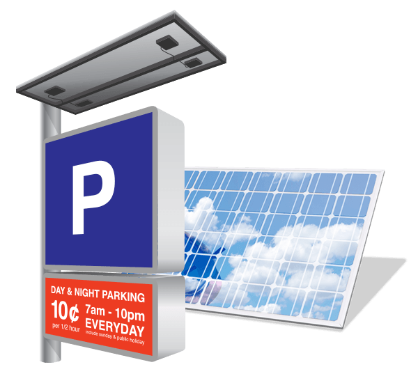 Solar-powered sign